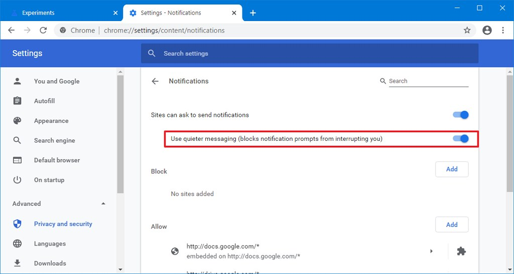 Chrome Use quieter messaging option