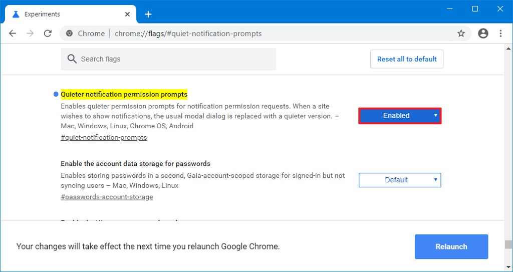 Chrome enable quieter messaging option