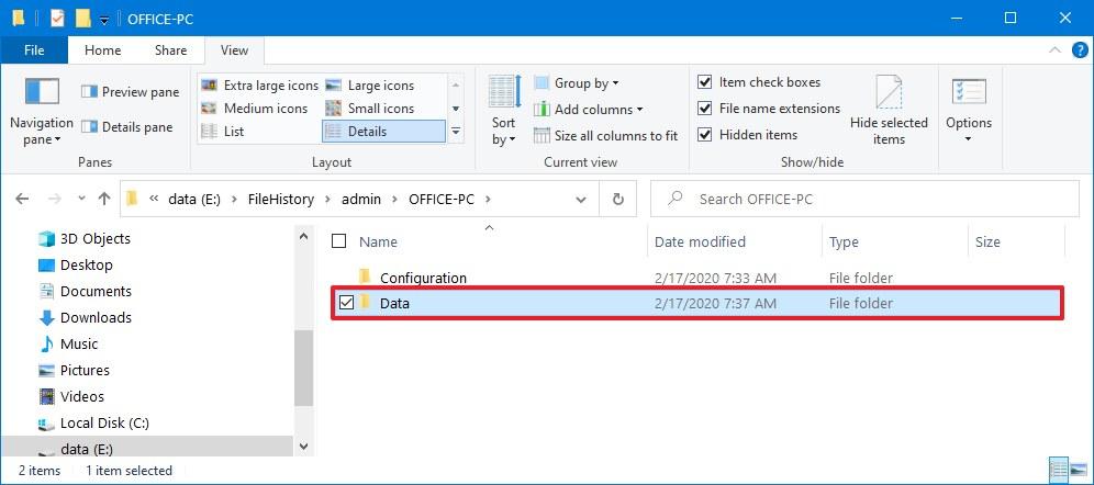 File History Data folder