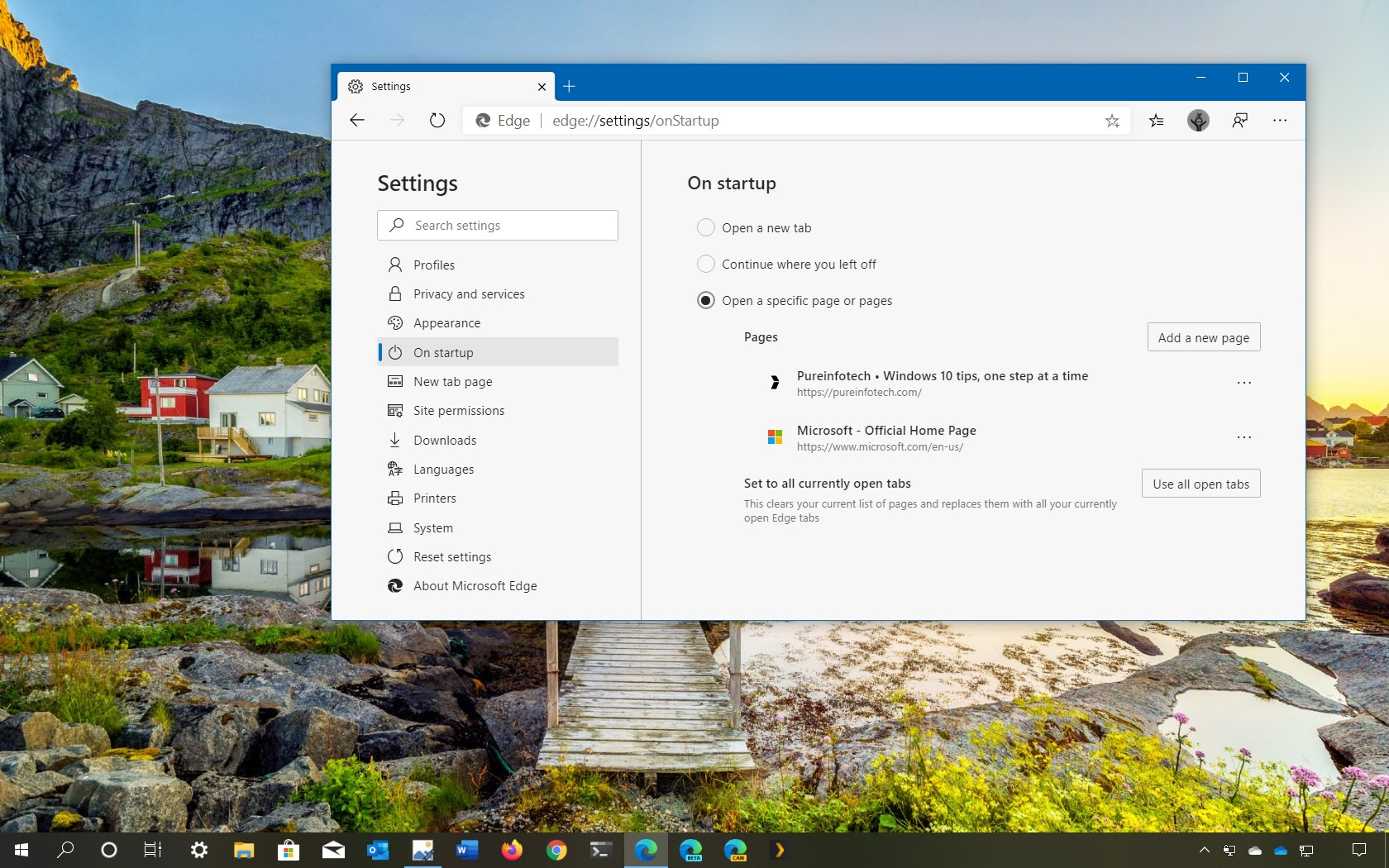 Microsoft Edge on startup settings