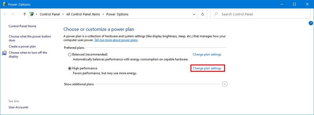 Power options change plan settings option