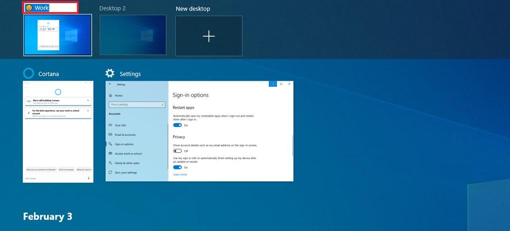 Rename virtual desktop option on Windows 10 2004