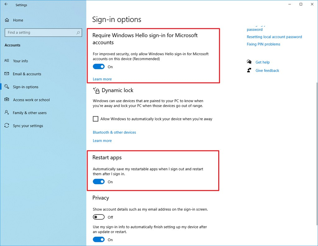 Require Windows Hello sign-in for Microsoft accounts option