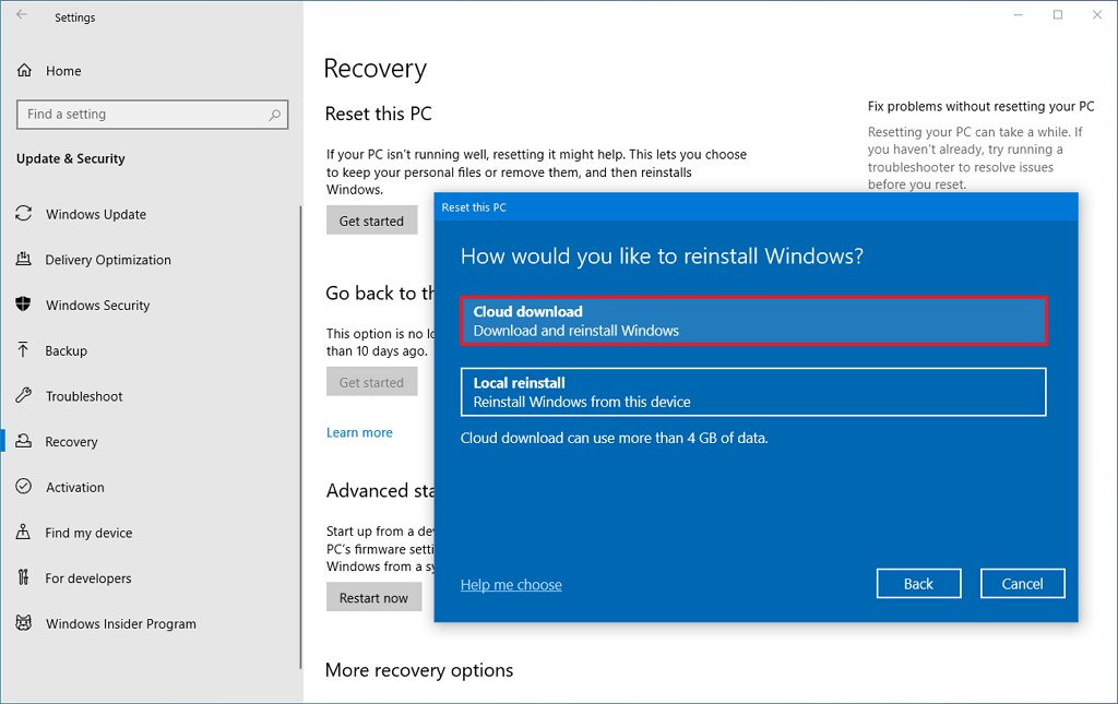 Reset this PC with Cloud download option on Windows 10 2004