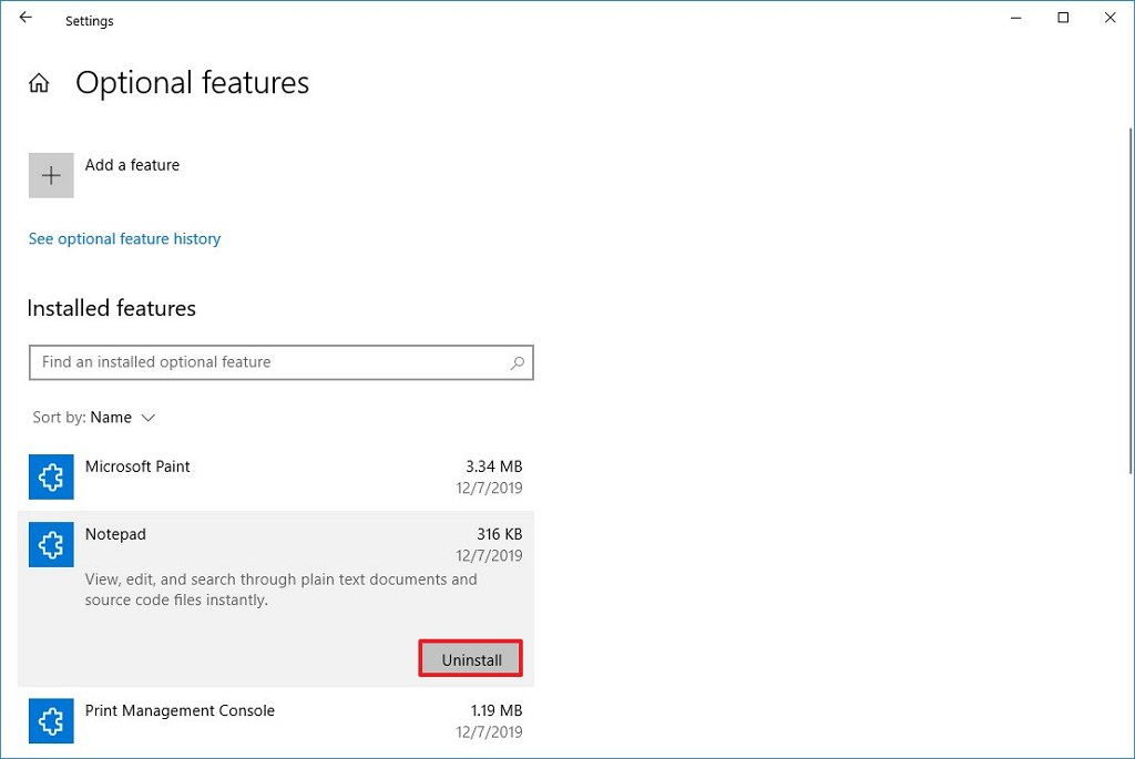 Uninstall Notepad on Windows 10