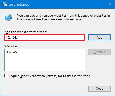 Windows 10 add trusted network configuration