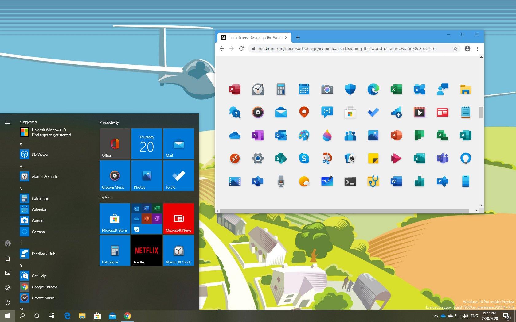 Windows 10 new modern icons