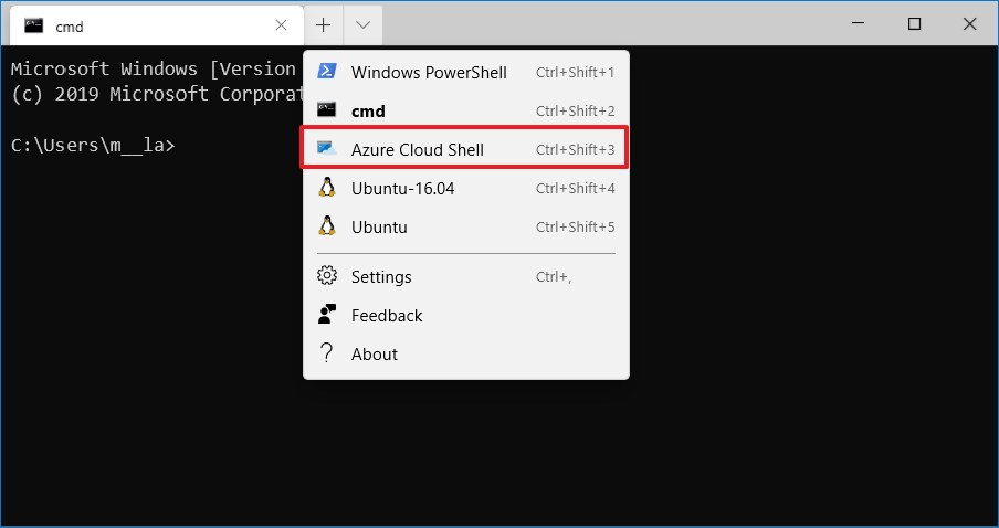 Windows Terminal Azure Cloud Shell option