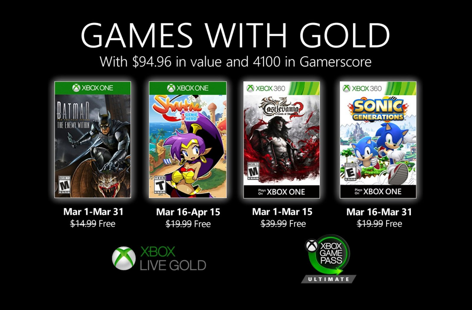 Xbox Games with Gold for March 2020 (source: Microsoft)