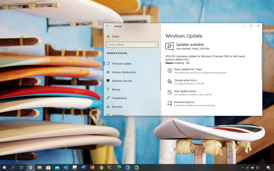 Windows 10 update KB4551762