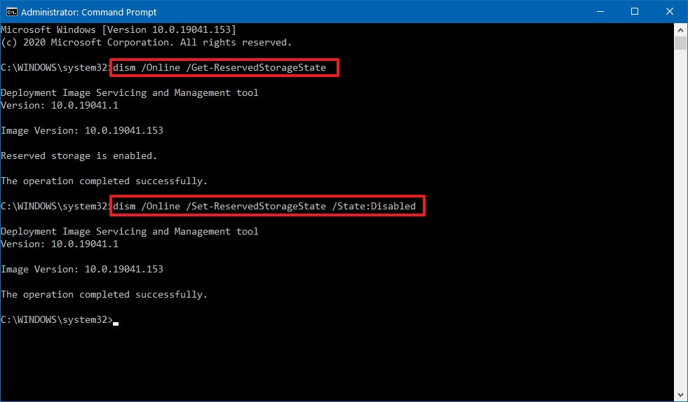 Windows 10 disable Reserved Storage DISM command