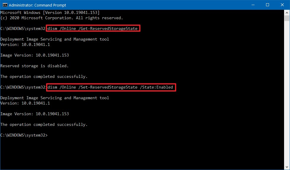 Windows 10 enable Reserved Storage DISM command