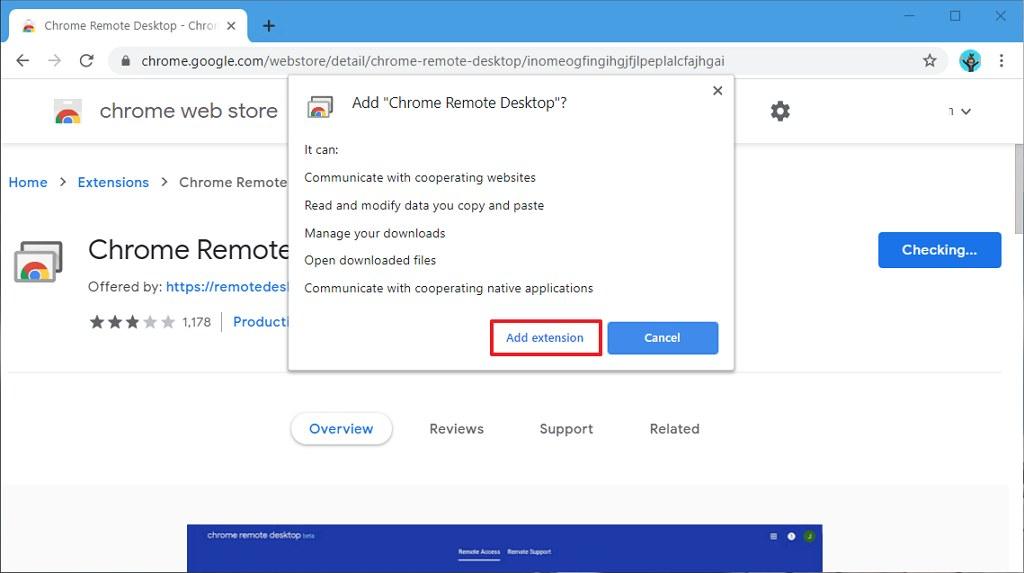 Chrome Remote Desktop install extension