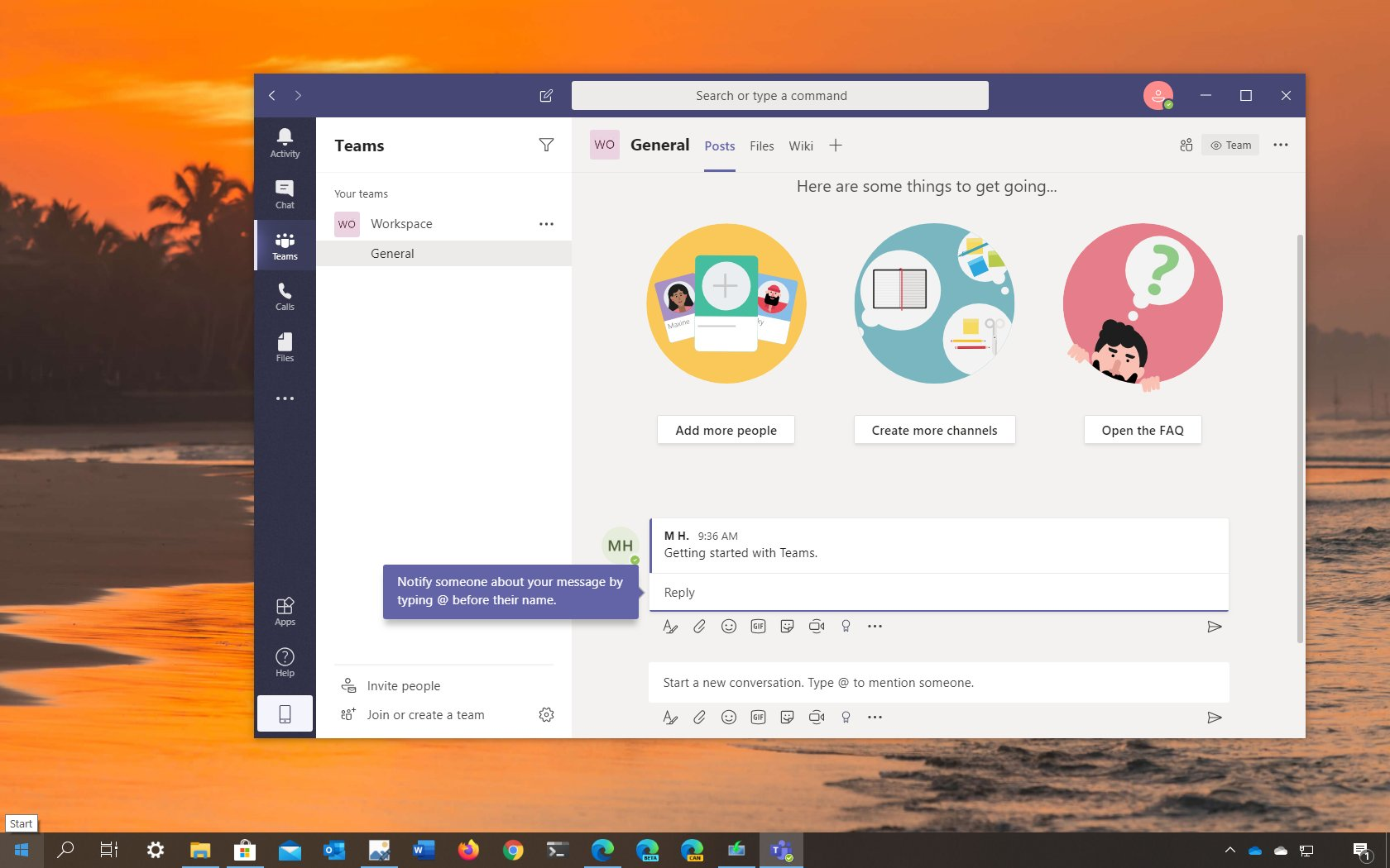 Microsoft Teams set up steps
