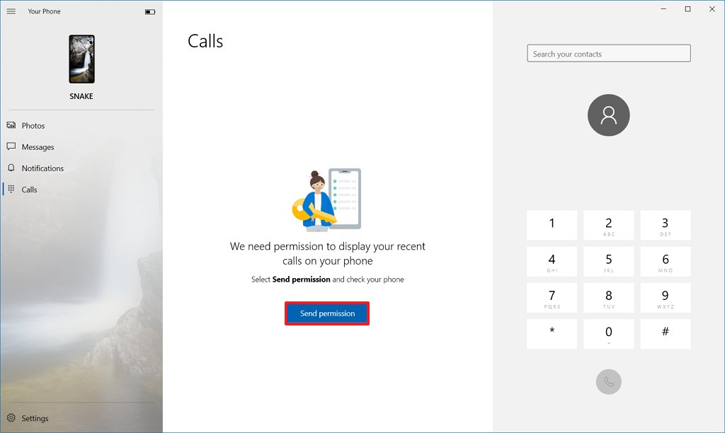 Your Phone enable permission to make calls