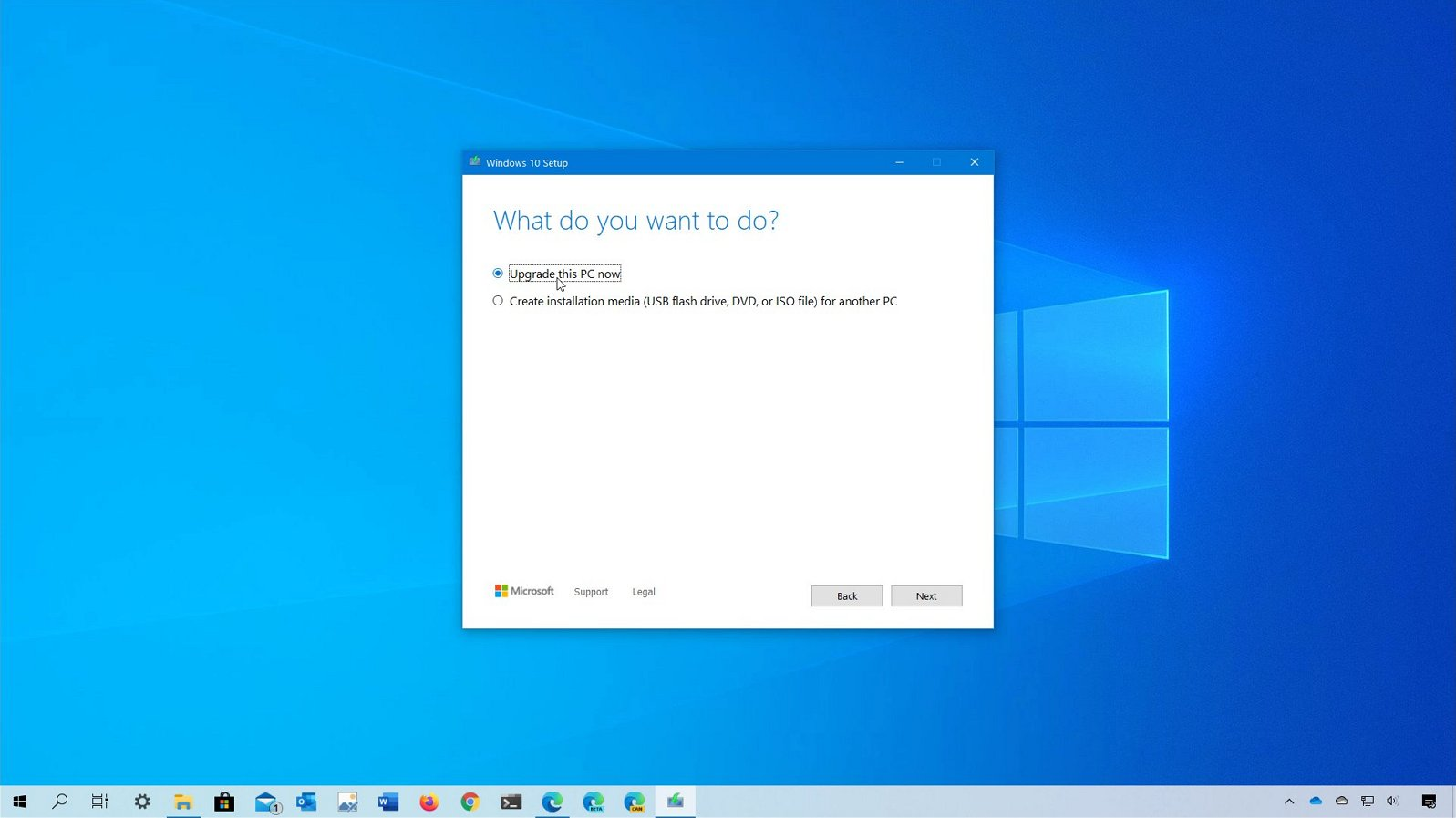 Windows 10 2004 upgrade process