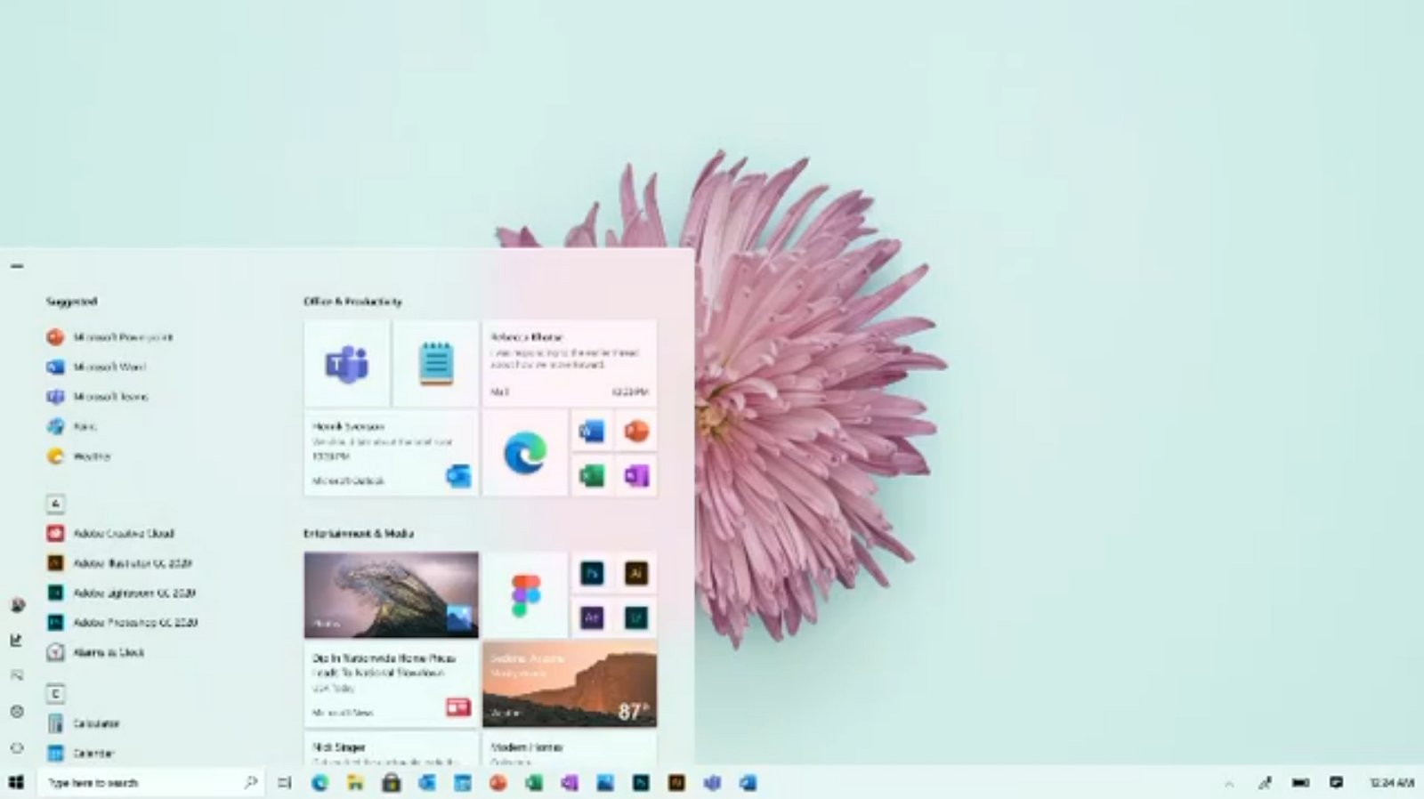 Windows 10 new Start menu with icons (source: Microsoft)
