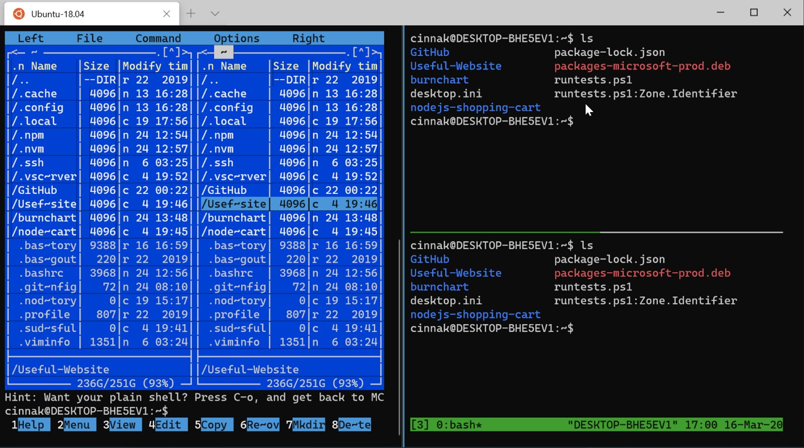 Windows Terminal version 0.10 with mouse input
