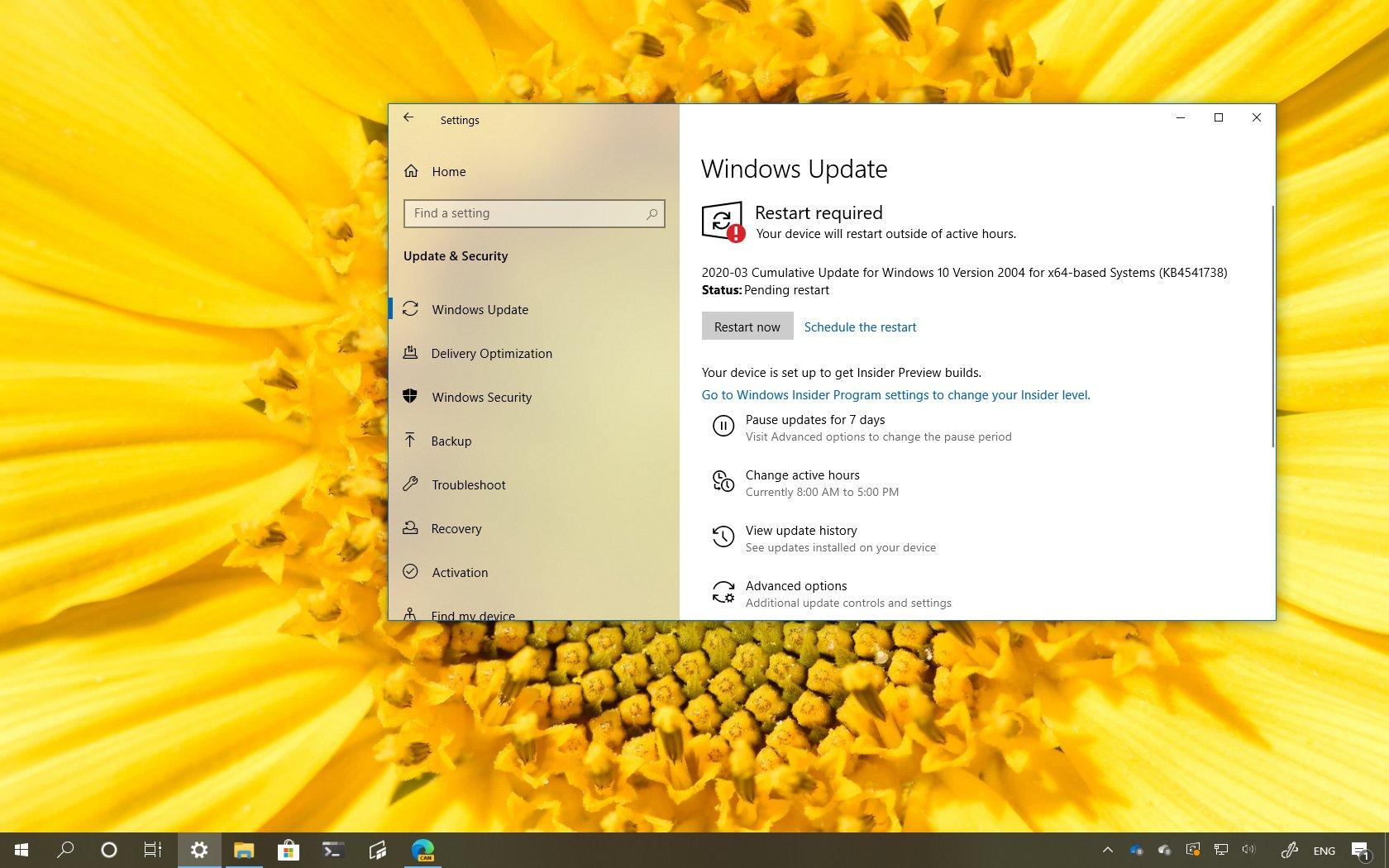 Windows 10 build 19041.153, update KB4541738