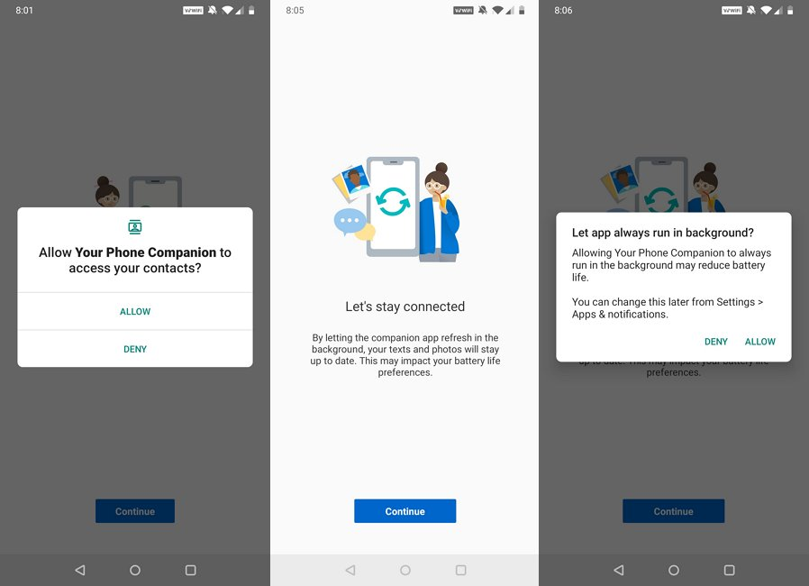 Your Phone for Android permissions