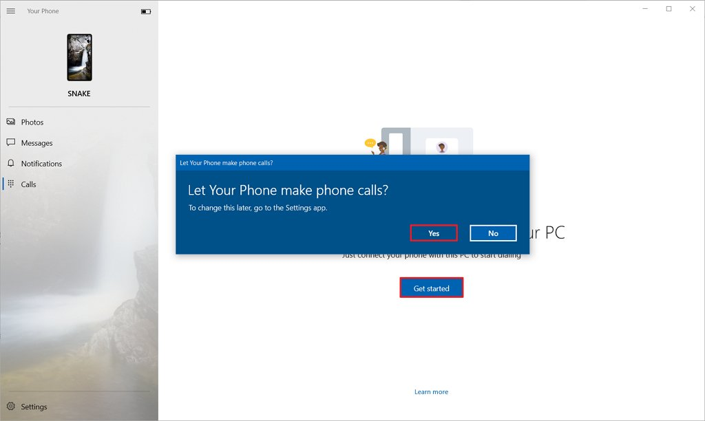 Your Phone enable calls on Windows 10